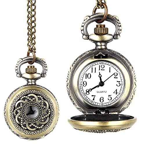 ZHAOJ Moda Vintage Reloj de Bolsillo de Cuarzo aleación Ahueca hacia Fuera Flores Mujeres Dama niñas Cadena Collar Colgante Reloj Regalos