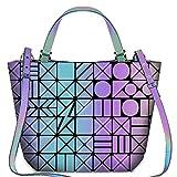 BestoU Damen Handtaschen Gitter Design Geometrische Leuchtende Tasche Schwarz PU-Leder Einzigartige Geldbörsen Frauen Umhängetasche (Leuchtende 1)