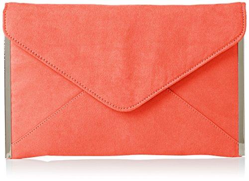 SwankySwans Damen Louis Suede Slim Envelope Party Prom Clutch Bag Tasche, Orange (Neon-Korallenrot), One Size