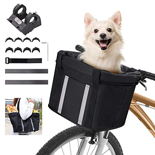 ANZOME 3 in 1 Fahrradkorb Vorne Abnehmbarer wasserdichte Faltbarer Fahrrad Lenkerkorb mit Lenkeradapter für Einkaufen, Pendeln, Kleiner Hunde, Picknick, 33 x 22 x 25 cm