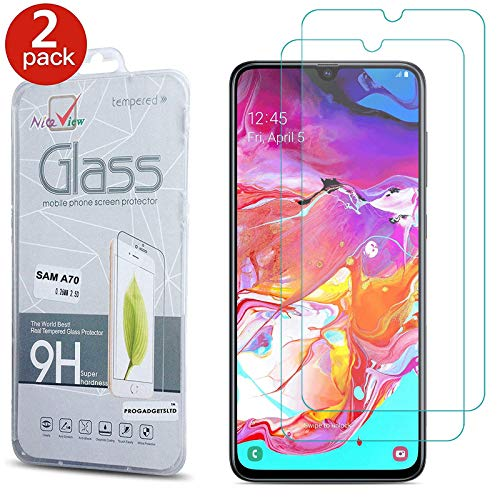 [2 Pack] Galaxy A70 Screen Protector, Gorilla Tempered Glass Screen Protector Shockproof Protective LCD Film Guard [9H Hardness] [Scratch-Resistant] For Samsung Galaxy A70 A705F