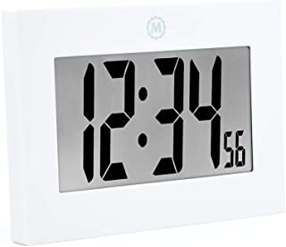 Marathon CL030064 Large Digital Wall Clock with Fold-Out Table Stand. Size is 9 inches with Big 3.25 Inch Digits. Batteries Included (White)