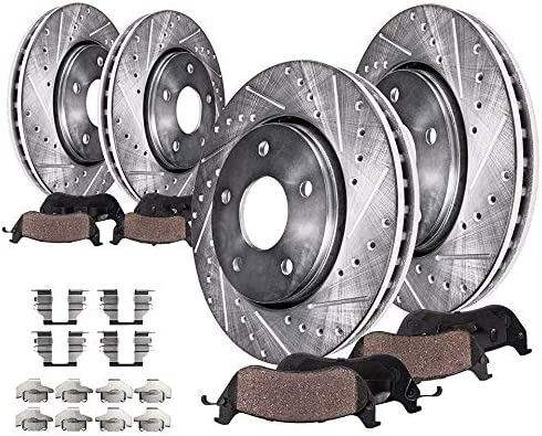 Detroit Axle 320mm FRONT 308mm REAR DRILLED and SLOTTED Brake Rotors Ceramic Brake Kit Pads product image