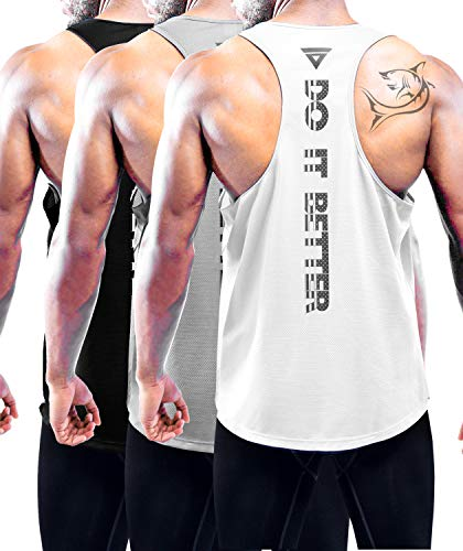 Holure Men's 3 Pack Gym Tank Tops Y-Back Muscle Tank Fitness Training Sleeveless T-Shirts for Running,Workout Black,Grey,White M