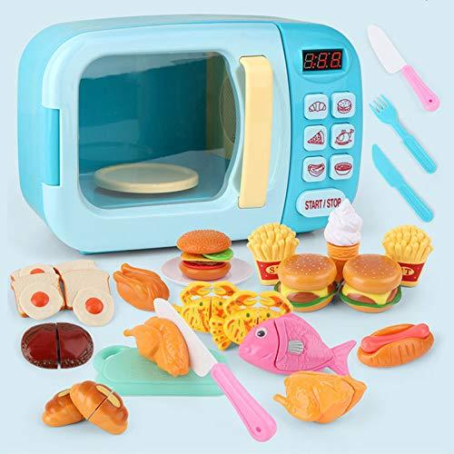 PPuujia Juguetes de cocina para niños simulación horno microondas juguetes educativos mini cocina comida juego de simulación juego de rol juguetes para niñas (color: azul 36 piezas)