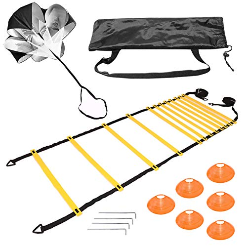 Agility Ladder Speed Training Equipment with 6 Cones, Resistance Parachutes, and 4 Hooks to Improve Speed, Strength, and Coordination Sports Speed Training Ladder Set for Soccer, Football, Athletes.