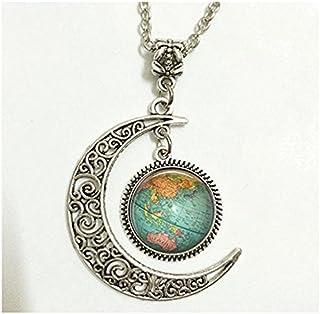 Charm Crescent Moon Globe, gioielli vintage Globe ciondolo, Globe Art Pendant, Teacher Gift, World Travel Adventurer