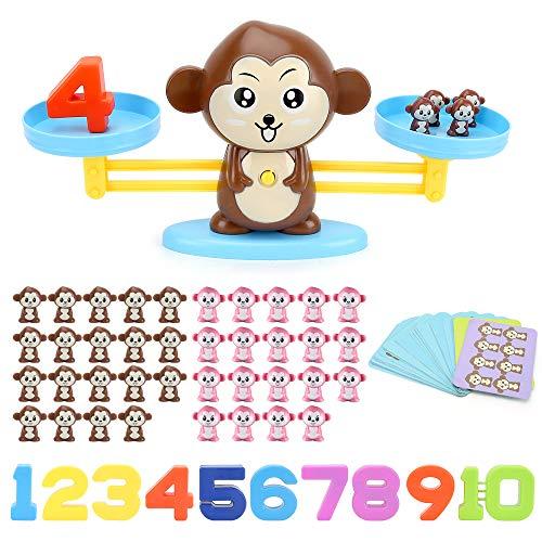 BeebeeRun Juguete Educativo para Niños 82 Pcs Monos Matemáticas Juego Niños de 3 Años de Edad Regalos