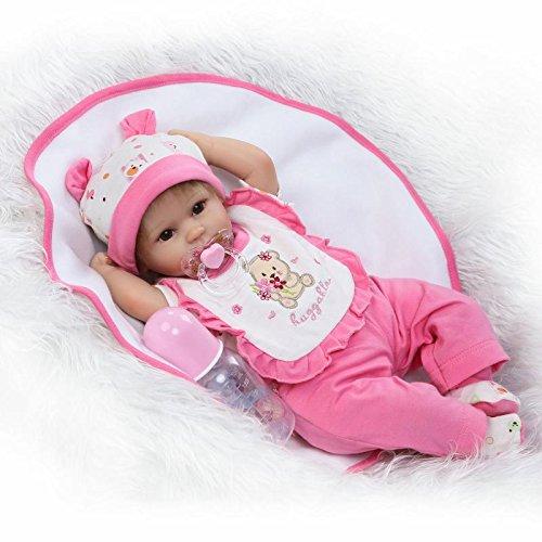 Nicery Reborn Baby Doll Soft Simulation Silicone Vinyl Cloth Body 18 inch 45 cm Lifelike Vivid Boy Girl Toy for Ages 3+ Cloth Body Red Cat NR45C049O
