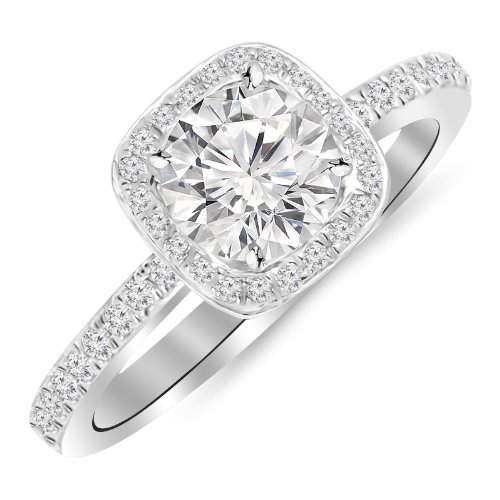 0.91 Carat Classic Halo Style Cushion Shape Diamond Engagement Ring in White Gold with a 0.60 Carat H-I I2 Center