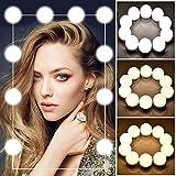 IFORU Luces para Espejo 10 Bombillas 3 Brillos Regulable, Luces del Espejo Maquillaje Estilo de Hollywood LED con Salida USB Función de Memoria, Lámparas del Espejo Maquillaje de Dimmable para...