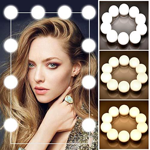 IFORU Luces para Espejo 10 Bombillas 3 Brillos Regulable, Luces del Espejo Maquillaje Estilo de Hollywood LED con Salida USB Función de Memoria, Lámparas del Espejo Maquillaje de...