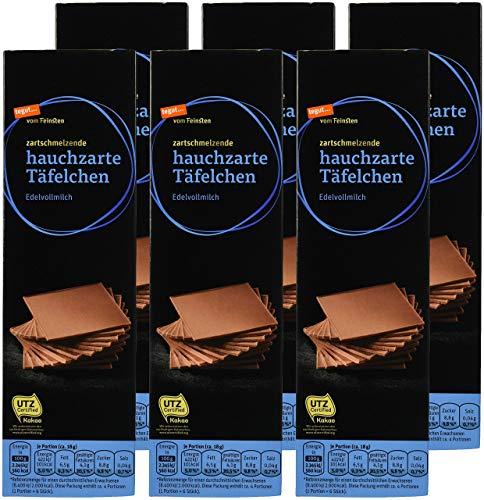 tegut... vom Feinsten Hauchzarte Täfelchen Edelvollmilch, 6er Pack (6 x 75 g)