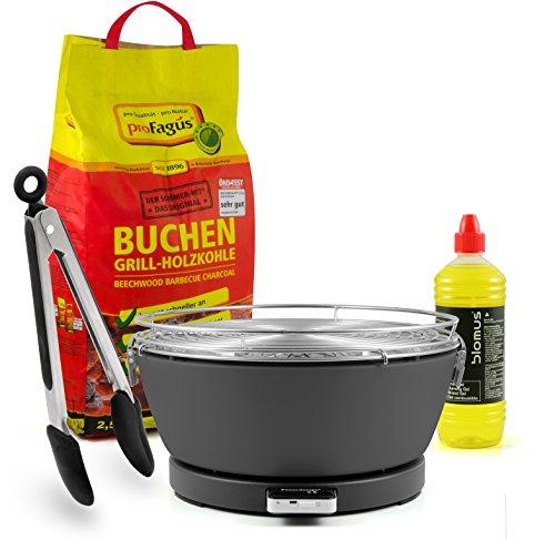 Feuerdesign Holzkohle Tischgrill 'Vesuvio', GRAU, inkl. 2,5kg Grillkohle, 1L Brennpaste & Gratis Grillzange
