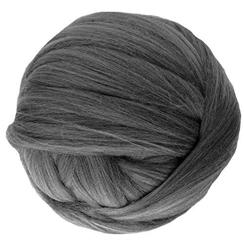clootess Bulky Chunky Yarn Big Roving Wool for Hand Made Knitted DIY Sofa Bed Throw Blankets Dark Gray 8 lbs = 3.6 kg