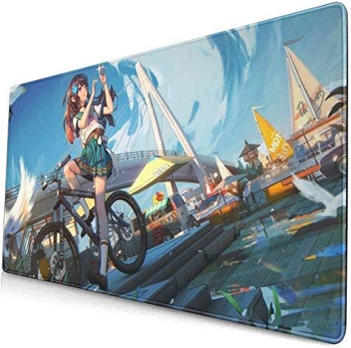 Anime Student Girl Bike Scenery 15.8x29.5 in grote Gaming Mouse Pad Bureau Mat Lange antislip Rubber gestikte randen