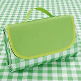 Supzone Family Picnic Blanket Foldable 57'x 79' Large Picnic Mat Outdoor Thick Waterproof Sandproof Picnic Blanket Mat for Spring Summer Park Outing Grass Beach Camping Mat-Green White Classic Plaid