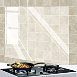 4 Pack Oil Proof Wall Sticker Wallpaper,Kitchen Backsplash Wall Protector Transparent High Temperature Resistant Self-Adhesive Sticker,Clear Waterproof Oilproof Paper for Kitchen Cupboard Household