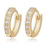 18K Oro Blanco Chapado Aretes con Diamante con Zirconia Cúbica, Pendientes de Aro, Hoop Earrings para Mujeres (Oro)