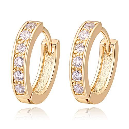 18K Oro Blanco Chapado Aretes con Diamante con Zirconia Cúbica, Pendientes de Aro, Hoop Earrings para…