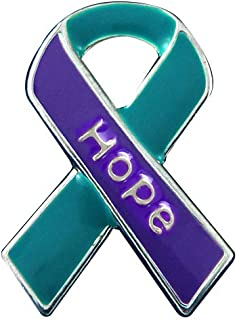Fundraising For A Cause Teal & Purple Hope Ribbon Lapel Pin