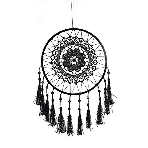 Quasten-Traumfänger zum Aufhängen an der Wand, groß, handgefertigt, Dekoration für Babypartys, Traumfänger, stilvolle Dekoration, Weihnachtsgeschenk, schwarz