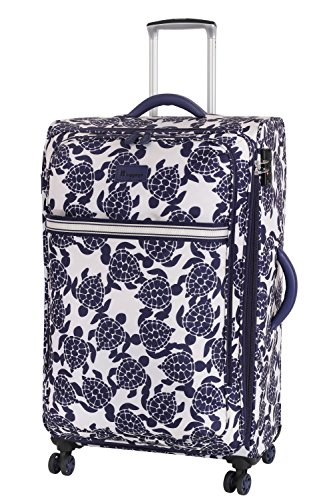 it luggage Nautical 8 Wheel Lightweight Semi Expander Large Suitcase, 77 cm, 111 L, Navy/Cream Sea Turtles Print