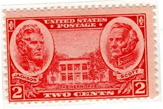 Postage Stamps United States. One Single 2 Cents Carmine, Andrew Jackson, Winfield Scott and the Hermitage, Army Commemorative Issue, Stamp Dated 1937, Scott #786.