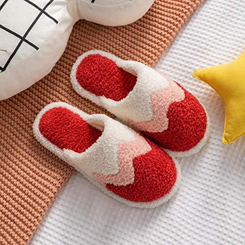 Zapatillas de espuma viscoelástica B/H para mujer, zapatillas de algodón de tela de dibujos animados, zapatillas de felpa antideslizantes para invierno, color rojo