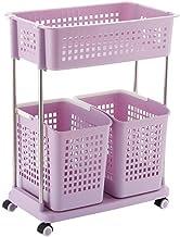 Laundry Basket Laundry Basket with Wheels, Laundry Storage Cart for Laundry Room Organization, Rolling Laundry Cart, Plast...