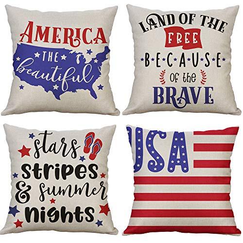 LEVOSHUA 4 Pack American Flag Pillowcase Throw Pillow Case Cushion Cover Patriotic 4th of July Cotton Linen Pillowcase Home Decorative for Sofa 18 x 18