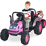 Uenjoy Electric Ride On Tractor with Trailer, Electric Tractor Motorized Vehicles for Kids with...