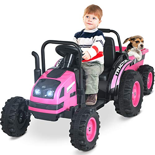 Uenjoy Electric Ride On Tractor with Trailer, Electric Tractor Motorized Vehicles for Kids with High-Capacity & Detachable Wagon,Remote Control, Music, Horn, Spring Suspension,Pink