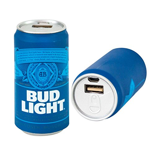 Bud Light Power Bank, Portable Metal Charger Battery Pack. BudLight 2600 mAh Power Bank Premium USB Output Charger Universal Battery Charger for all Devices, Easy Travel Small Beer Power Pack - Can