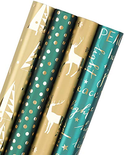 WRAPAHOLIC Christmas Wrapping Paper Roll - Dark Green and Gold Holiday Design with Glitter Matallic Foil Shine - 4 Rolls - 30 Inch X 120 Inch Per Roll