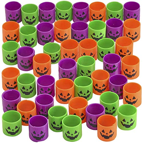 Kicko Jack-o-lantern Spring Coils - Pack of 48 Halloween Neon Coil Springs for Kids - Perfect for Trick-or-Treats, Creepy Party Favors, Candybag s, Pumpkin Basket Fillers