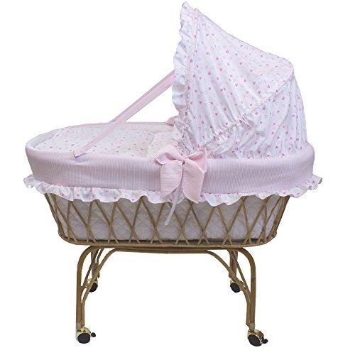 Babysanity - Culla in vimini neonato 'Linea Romantica'rosa con raffinati cuoricini