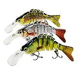 Rose Kuli Fishing Bass Lures for Swimbaits Multi Jointed Lifelike Crankbait 3 Pack Fishing Bait Tackle Kits