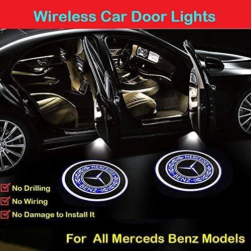 2Pcs for Mercedes Benz Car Door Logo Projector Lights, Led Welcome Laser Door Lights Logo, Wireless Type Projector Car Door Lights for All Models, No Wiring, No Punching (BENZ BADGE)