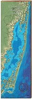 MILL WOOD ART Chincoteague And Assateague Islands Map Home Decor Art Print on Real Wood (9.5