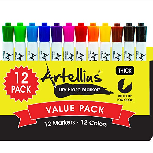Dry Erase Markers (12 Pack of Assorted Colors) Thick Barrel Design - Perfect Pens For Writing on Whiteboards, Dry-Erase Boards, Mirrors, Windows, All White Board Surfaces