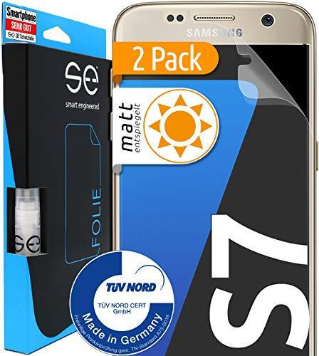 [2 Stück] Entspiegelte 3D Schutzfolien kompatibel mit Samsung Galaxy S7 - [Made in Germany - TÜV Nord] - Bildschirmschutz-Folie - Hüllenfre&lich – Matt – kein Glas sondern Panzer-Folie TPU