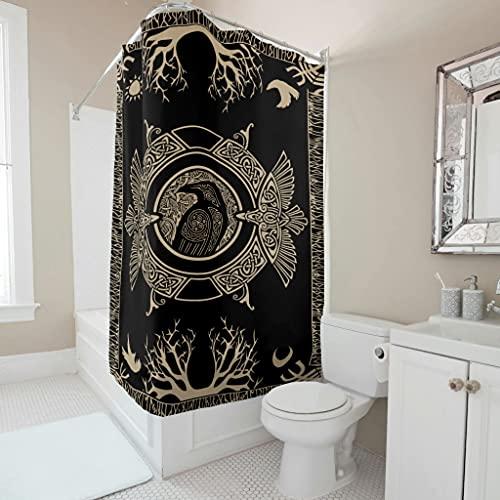 Wandlovers Cortina de ducha resistente al agua, diseño vikingo, rama escandinava, impresión divertida, forro con hebillas de anillo de plástico para ducha de bañera, color blanco 3 150 x 200 cm
