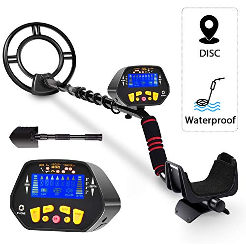 RM RICOMAX High Accuracy Metal Detector Waterproof LCD Display [Pinpoint Function & Discrimination Mode & Distinctive Audio Prompt] 10 Inch Waterproof Search Coil Detectors Metal