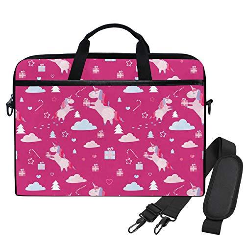 Emoya Schultertasche Laptop Tasche Weihnachten Einhorn Tanne Bäume Zuckerstange Geschenke 13-14 Zoll Laptop Sleeve Aktentasche für Herren Damen