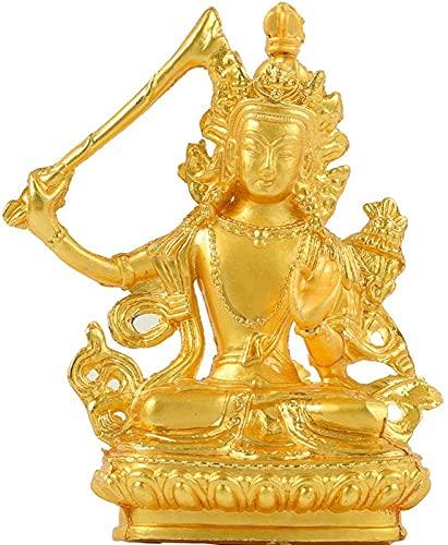 WSJF Abstracto única Estatua Escultura Creativa Escritorio casero de baño decoración Escultura, 8cm manjushri bodhisattva Oro Buda Estatua Buddha Mini casa Escritorio decoración de Escritorio