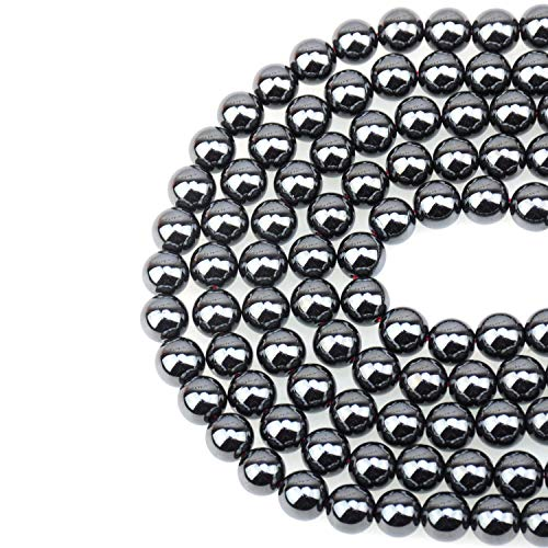 LPBeads 100PCS 8mm Natural Hematite Beads Gemstone Round Loose Beads for Jewelry Making with Crystal Stretch Cord