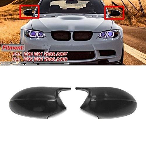 Seitenspiegel Ersatzabdeckungen Spiegelabdeckung Einfache Schwarze M3-Art-Rückspiegel-Kappen-Abdeckung Ersatz Fit for BMW 3er E90 E91 E92 E93 LCI Pre-LCI 2006-2009 (Color : Pure Black)