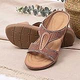 XLBHSH Sandali da Donna con Plateau Open Toe Cork Zeppa Flatform Sandali Estivi Casual Beach Sandals,Rosa,37