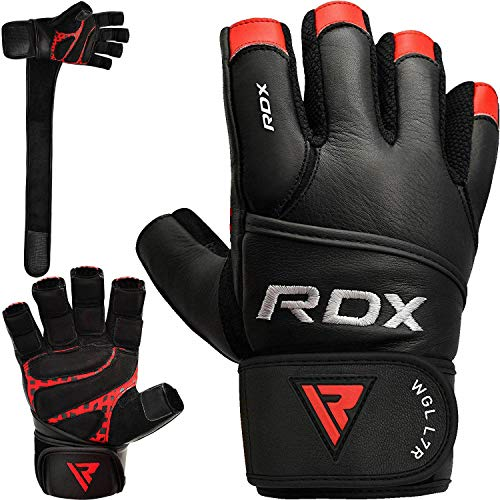 RDX Fitness Handschuhe Gewichtheben Trainingshandschuhe krafttraining Rindsleder Workout Gloves klimmzug Gym Sporthandschuhe Bodybuilding (MEHRWEG) (Rot-Schwarz-, X-Large)